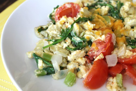 Scrambled Eggs with Spring Onion, Chilli and Spinach